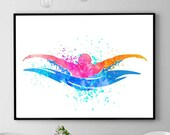 Swimmer Gift, Swimming Art, Watercolor Print, Sports Decor, Swimming Pool Wall Art, Home Decor (N041)