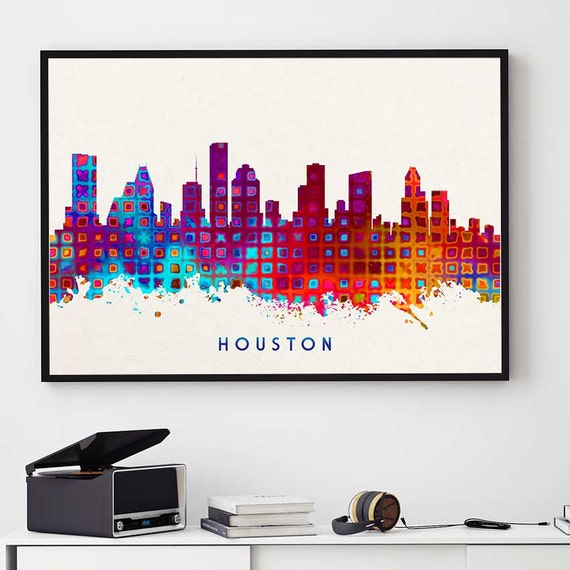 Houston Skyline Houston Print Skylines Print Houston City