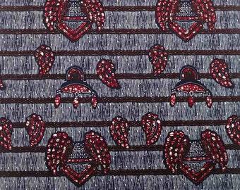 Black White Burgundy Rows Wax Prints African Ankara Fabric Per Yard