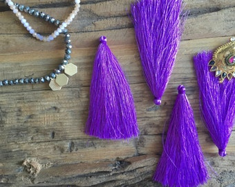"""Purple 4"""" long tassel for jewelry making, craft projects, beaded necklace, jewelry supplies, tassel necklace, jewelry supply, diy crafts"""