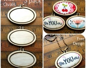 3 Mini Hoop Wide Oval Pendant Embroidery Blanks - Frame Necklace Craft Supply Jewelry wood