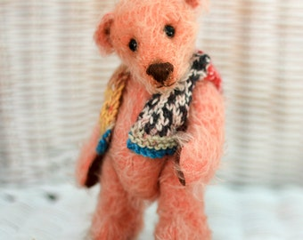 OLIVIA bear - OOAK Teddy Bear - Artist teddy bear - Mohair teddy - Pink teddy bear - shabby chic - nursery decor - teddy bear for a girl