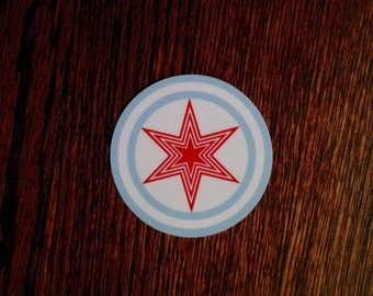 Round Chicago Flag Sticker