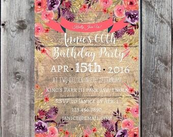Custom Invitation, Custom Invite, Bridal Shower Invite, Printable Invitation, Birthday Invitation, Anniversary Invitation