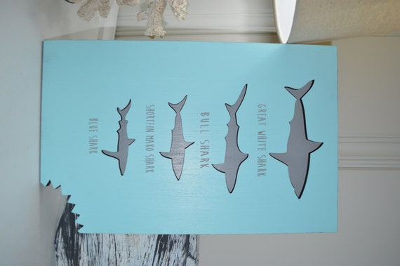 Shark sign shark decor beach house decor kids room ocean for Room decorating ideas in urdu