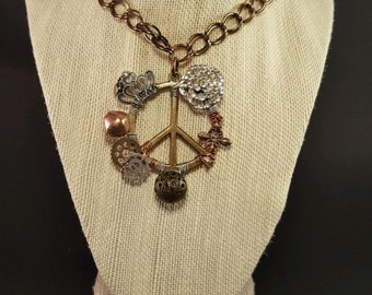 Hand wired Peace sign Necklace