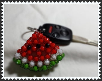 Acrylic bead hand made Watermelon motif key chain, pendant, or zipper pull. Gift for kids.