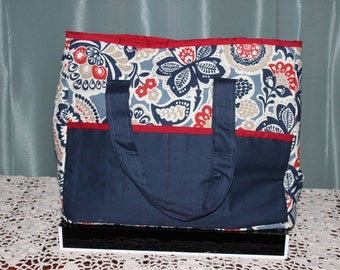 Large Tote Paisley with Blue pockets