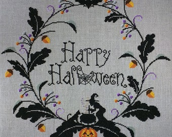 Cross Stitch Halloween Wreath PDF Pattern Instant Download