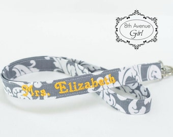 Personalized lanyard, Teacher lanyard, Nurse lanyard, Badge ID holder lanyard, Gray and white damask fabric