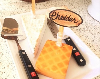 Cheese Name Tags Woodburned Cheese Platter Name Stakes (Set of 5)