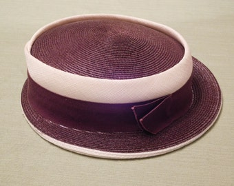 Vintage Brown Brimmed Hat with Cream Band