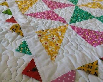 Baby quilt / Pink quilt / Yellow quilt / Patchwork/  Lap quilt/ Custom quilt / Pinwheel quilt / Toddler quilt/ Quilt for sale/ Crib quilt