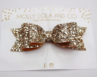 Gold Glitter Hair Bow. Oversized. Gold Glitter Hair Accessory - Hair Bow - For Children and Adults.