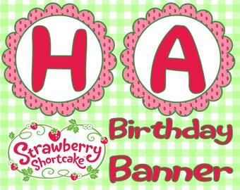 Strawberry Shortcake Birthday Banner- INSTANT DOWNLOAD!!!