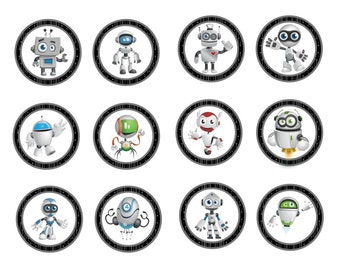 Robot Cupcake Toppers- INSTANT DOWNLOAD