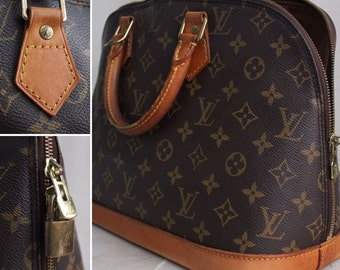 Vintage Louis Vuitton Alma PM Bag / Authentic 1994 Louis Vuitton Designer Handbag /  Made in USA / Leather and Canvas LV Monogrammed Bag
