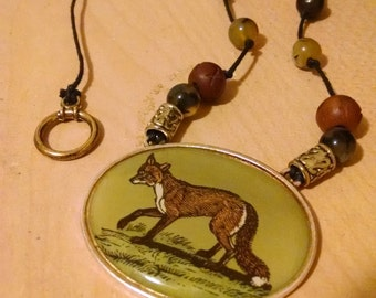 Fox Pendant Hemp Necklace