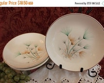 """Fall Clearance Sale Set of 4 Crooksville China 8"""" Large Soup Bowls - Green and Gold Windfowers on Ivory Background"""