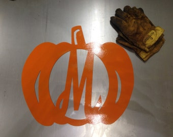 Pumpkin Door and Wall Hanger, Halloween and Fall-Themed CNC Plasma Cut Metal Art