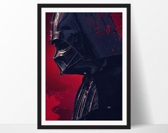 DARTH VADER Poster, Star Wars Poster, Darth Vader Art Print, Movie Poster, Darth Vader Illustration, Star Wars Decor, Star Wars Art Print