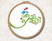 Blue Love Birds on a Green Swirl Branch with Red Hearts Counted Cross Stitch or Needle Point Pattern - PDF Digital Download