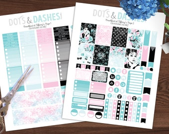 Breakfast at Tiffany's kit, full weekly kit, printable planner stickers, planner stickers, downloadable stickers, vertical kit, black pink