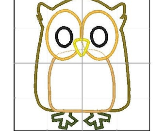 Owl applique 4x4 5x7 6x10