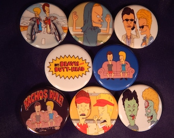 8 Beavis And Butthead Pin Buttons 1.25 inch Diameter