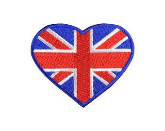 LOVE United Kingdom Flag Heart Patch Iron On Patches Sew On Patch