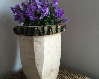 Flower pot - tree trunk rustic - handmade
