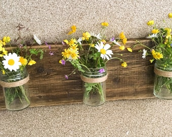 Reclaimed timber wall mounted jars, rustic timber plaque, shabby chic, wall vase