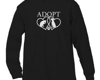 Adopt Heart Animal Rescue Dogs Cats Pets Adoption Men's Longsleeve Shirt SF_0035