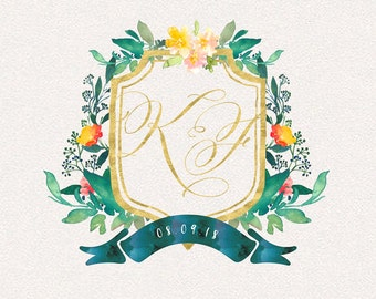 Wedding Monogram | Baron | Wedding Logo, DIY wedding, wedding initials, printable wedding, wreath monogram, leaves monogram, painted