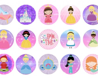 "Princss bottlecap images Once upon a time cap images  Digital 1"" Princess images"