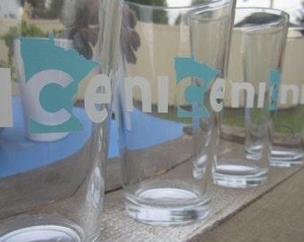 Nice Minnesota Pint Glass, Set of 4 - Minnesota Beer Glass, Minnesota State Pint Glass, State Glass