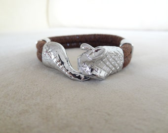 EXPRESS SHIPPING,Snake Skin Bracelet,Brown High Quality Leather Bracelet,Men's Jewelry,Snake Bracelet,Gifts for Boyfriend,Father's Day Gifts