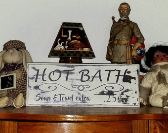 Hot, Bath, Rustic, Sign, Country, Bathroom, Reclaimed, Home