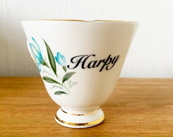 Harpy | Custom Made To Order  Swear Teacup | Funny Rude Insult Obscenity Profanity | Unique Gift Idea
