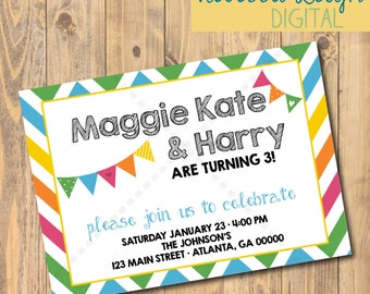 Kids Birthday invitation | Digital Download | Printable | COLORFUL CHEVRON | Customizable Invitation
