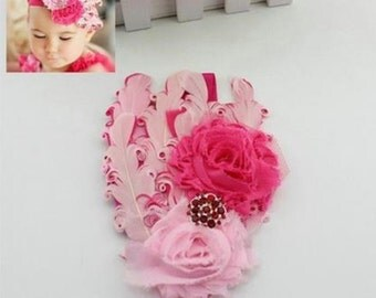 Retro Baby Toddler Feather Flower Rhinestone Fuchsia Headband