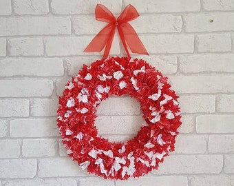 Red and White Wreath~Christmas Wreath~Holiday Wreath~Candy Cane Wreath~Valentines Wreath~Home Decoration~Seasonal ~ON SALE