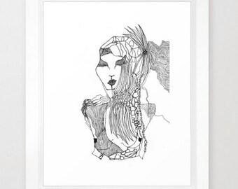Print of original illustration 'Eucalypt' - Black & White.