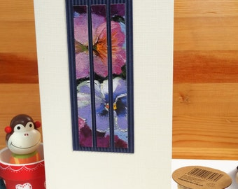Handmade Greeting Card - Blank Card - Suitable for all Occasions - Pansy print cut into strips on corduroy card