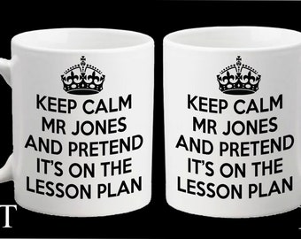 Personalised Teacher Keep Calm & Pretend it's on the Lesson Plan Teaching Assistant Mug Gift Present Thank You School