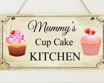 Beautiful Shabby Plaque Cup Cake Kitchen Pesonalised Mum Mummy Nanny Sign Chic