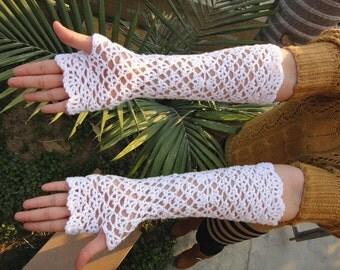 Elbow Length Crochet Fingerless Gloves Wedding Gift