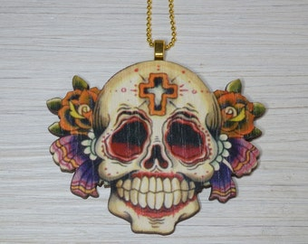 Sugar Skull, Day of the Dead Necklace, Laser cut Wood, Smile