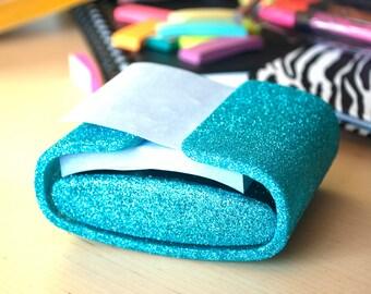Turquoise Glitter Post-It Dispenser, Office Supplies, Glitter Office Supplies, Post-It Dispenser, Turquoise Classroom, Classroom Supplies