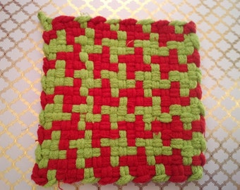 Red and Green Woven Potholder